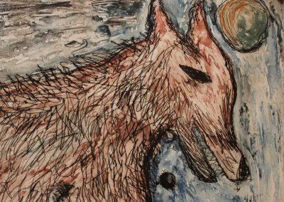 Wolf I, Drypoint Monoprint, 2011sm